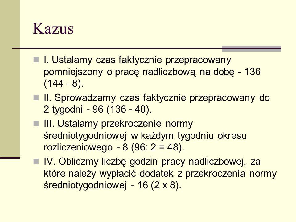 Kazus I. Ustalamy czas faktycznie przepracowany pomniejszony o pracę nadliczbową na dobę - 136 (144 - 8).