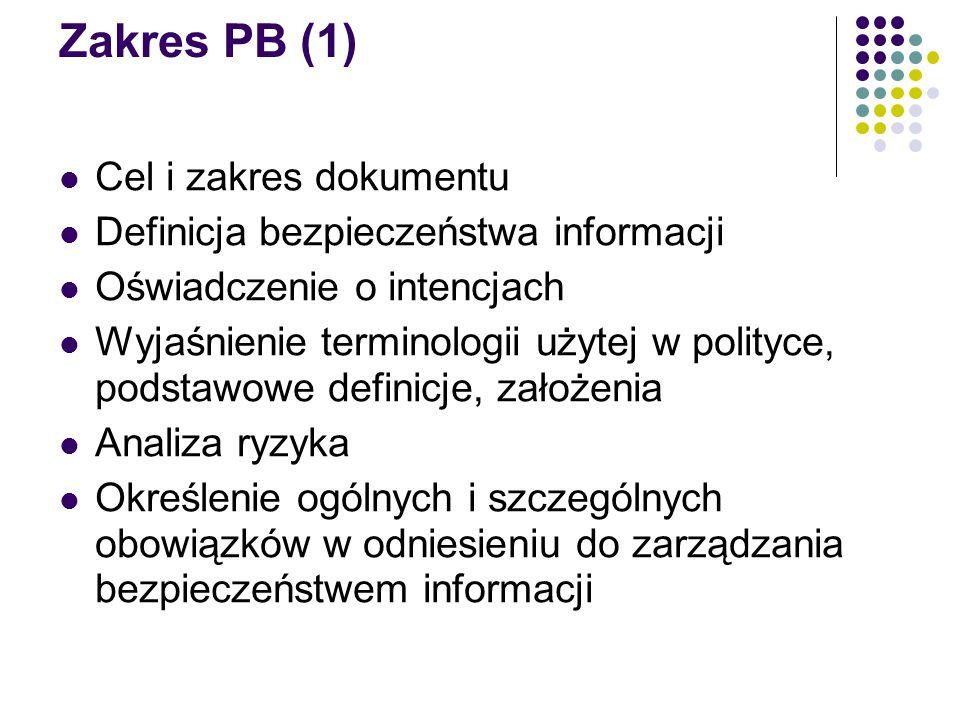 Zakres PB (1) Cel i zakres dokumentu