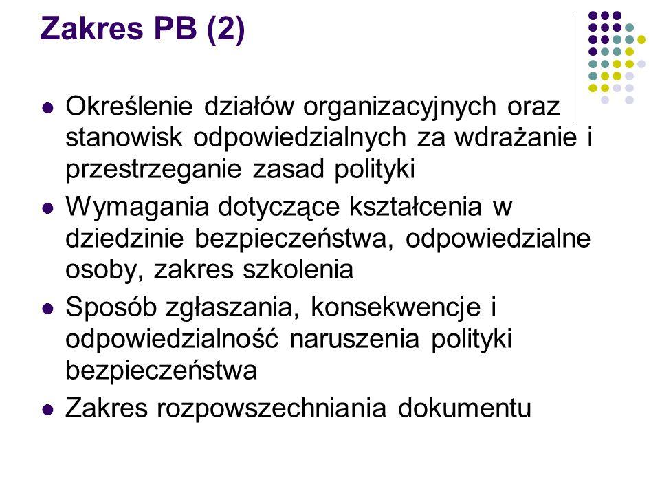 Zakres PB (2) Określenie działów organizacyjnych oraz stanowisk odpowiedzialnych za wdrażanie i przestrzeganie zasad polityki.