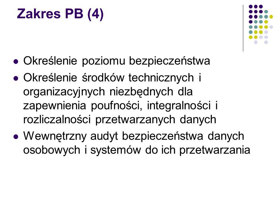 Zakres PB (4) Określenie poziomu bezpieczeństwa