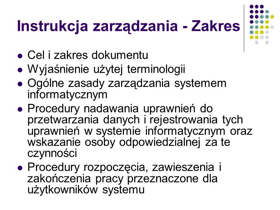 Instrukcja zarządzania - Zakres
