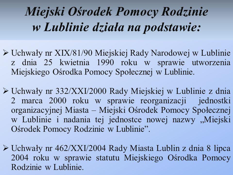 Miejski Ośrodek Pomocy Rodzinie w Lublinie działa na podstawie: