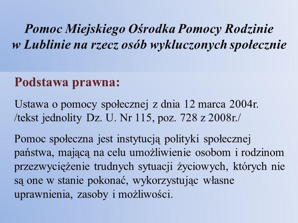 Pomoc Miejskiego Ośrodka Pomocy Rodzinie w Lublinie na rzecz osób wykluczonych społecznie