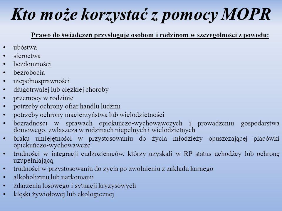 Kto może korzystać z pomocy MOPR