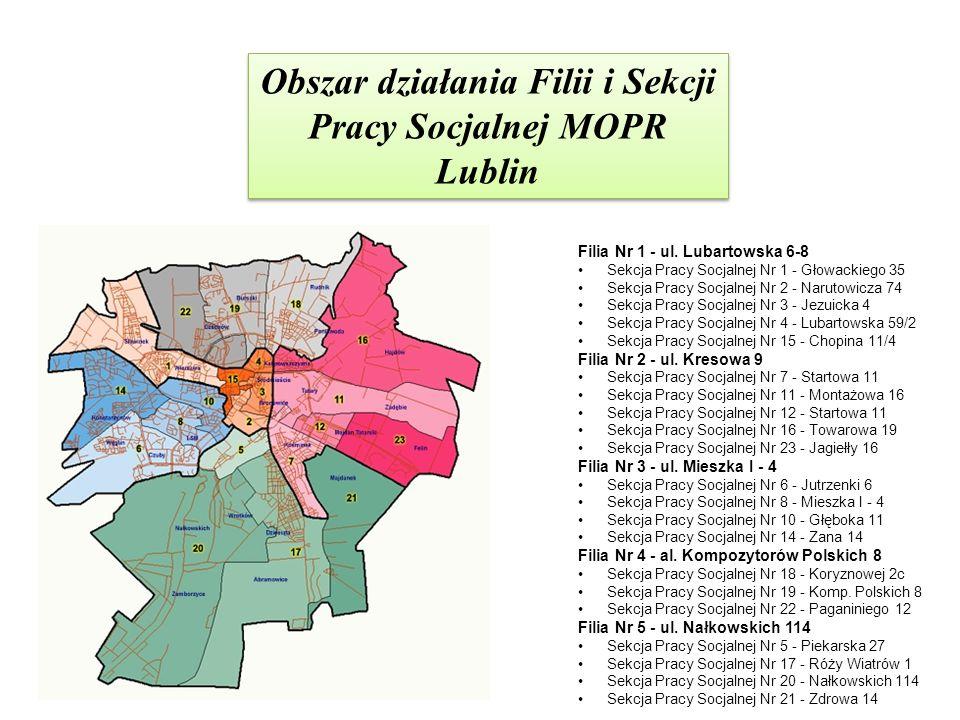 Obszar działania Filii i Sekcji Pracy Socjalnej MOPR Lublin