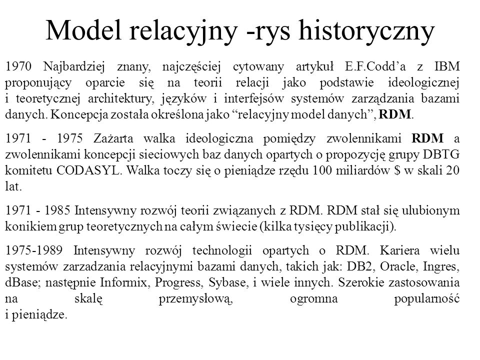 Model relacyjny -rys historyczny