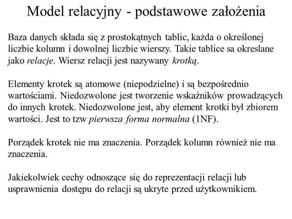 Model relacyjny - podstawowe założenia