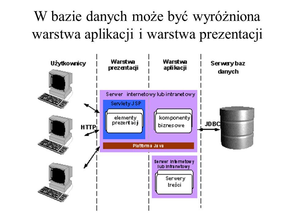 W bazie danych może być wyróżniona warstwa aplikacji i warstwa prezentacji