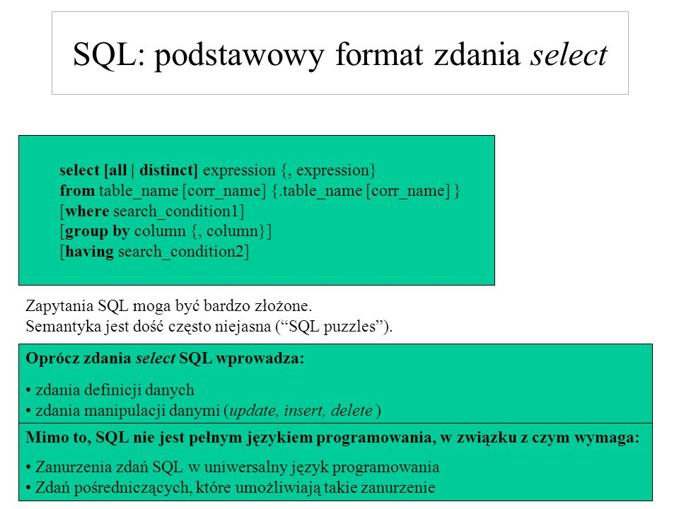 SQL: podstawowy format zdania select