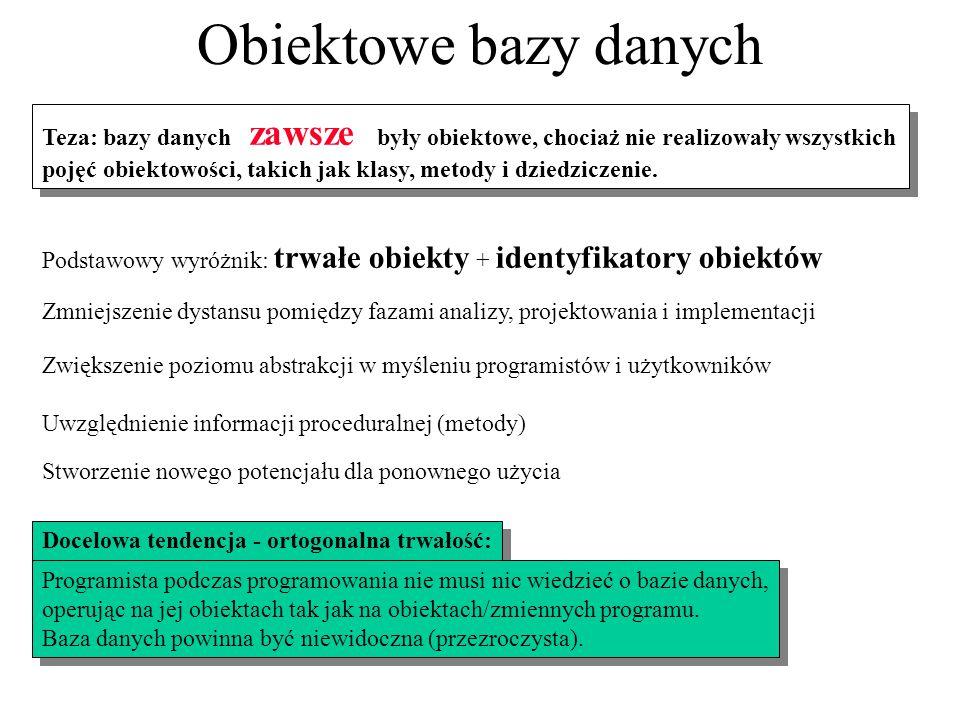 Obiektowe bazy danych Teza: bazy danych zawsze były obiektowe, chociaż nie realizowały wszystkich.