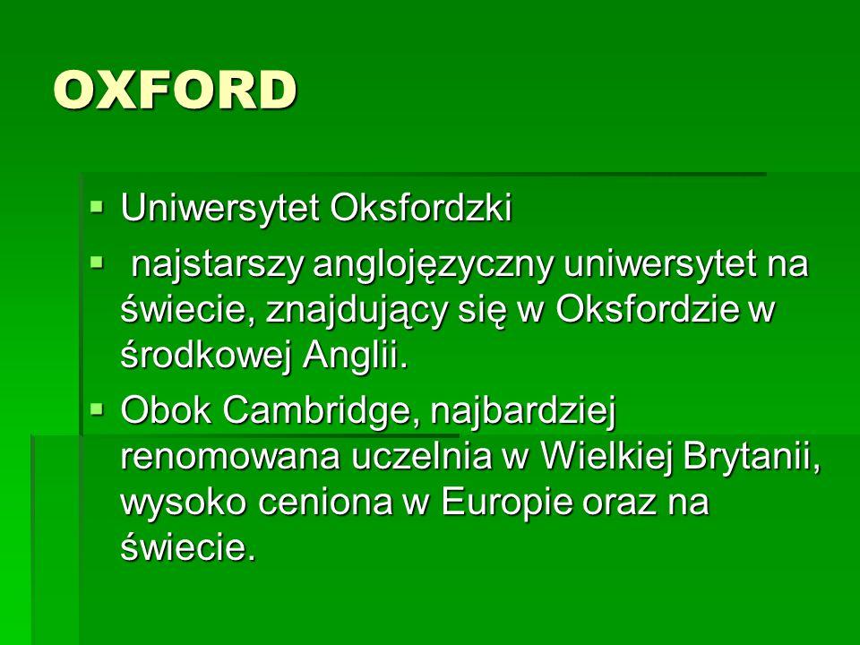 OXFORD Uniwersytet Oksfordzki