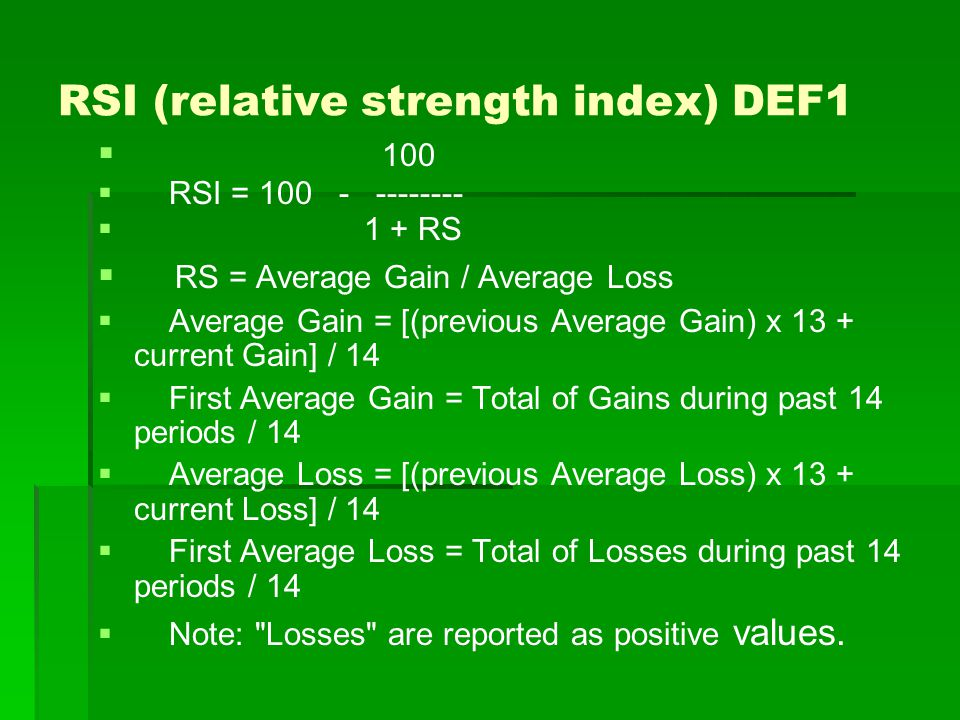 RSI (relative strength index) DEF1
