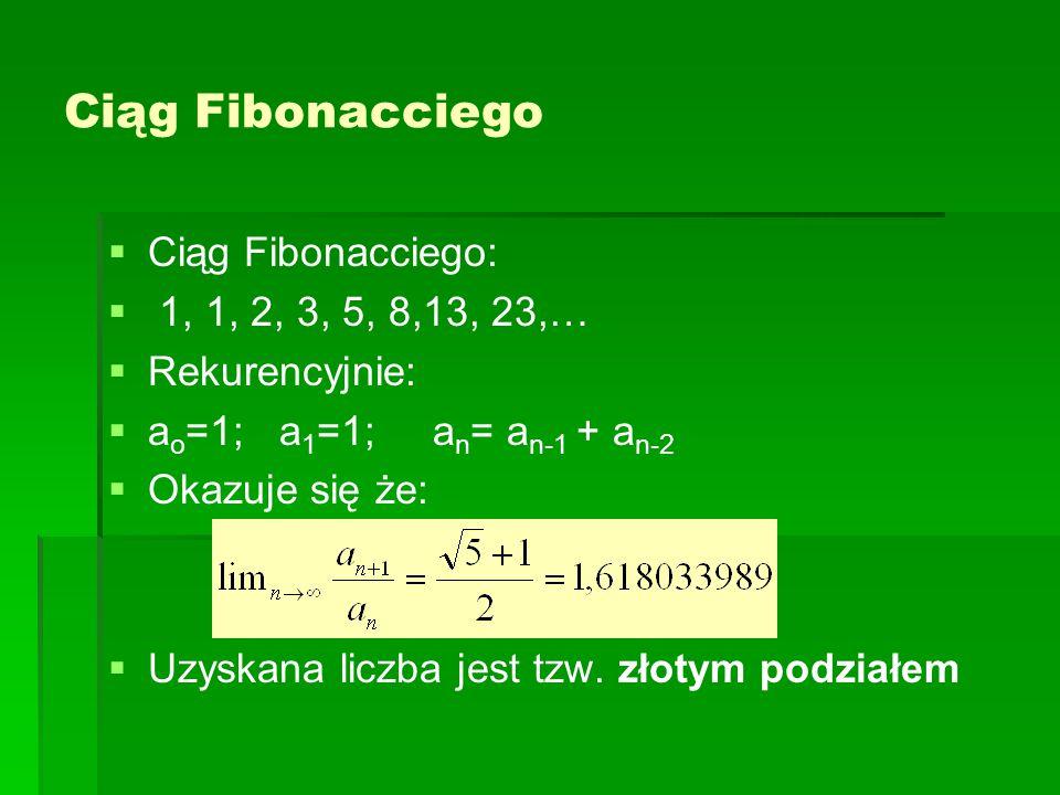 Ciąg Fibonacciego Ciąg Fibonacciego: 1, 1, 2, 3, 5, 8,13, 23,…