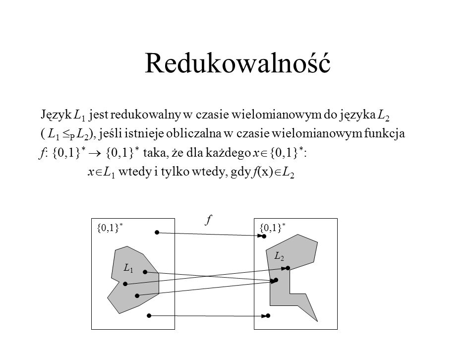 Redukowalność Język L1 jest redukowalny w czasie wielomianowym do języka L2. ( L1 P L2), jeśli istnieje obliczalna w czasie wielomianowym funkcja.