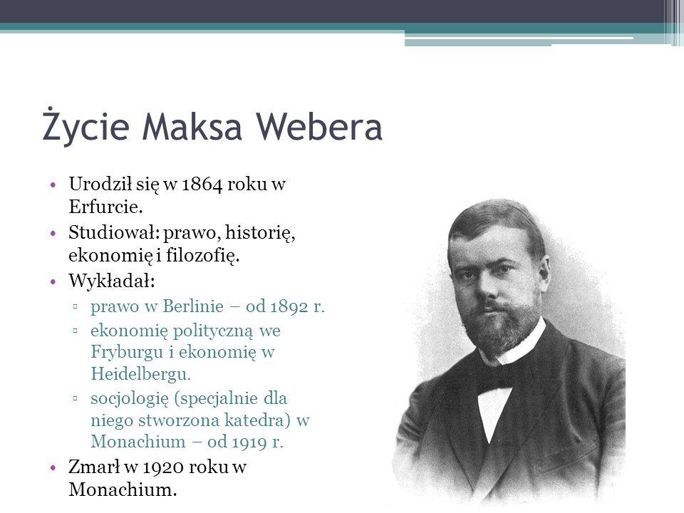 Życie Maksa Webera Urodził się w 1864 roku w Erfurcie.