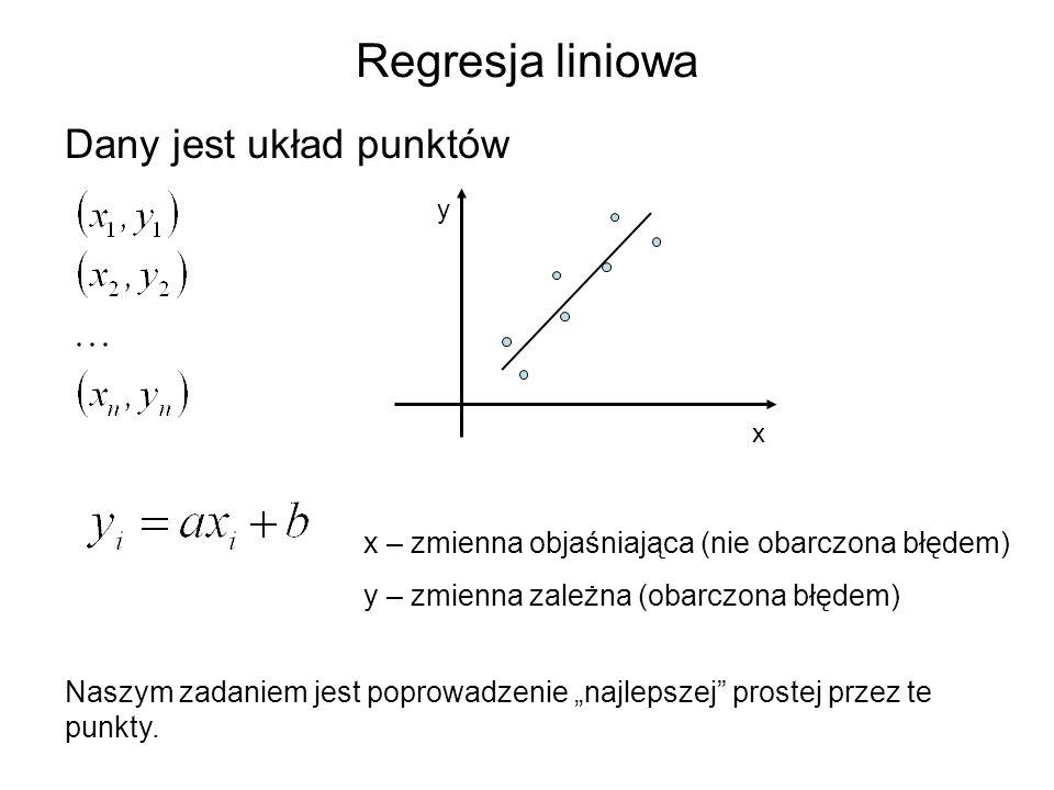 Regresja liniowa Dany jest układ punktów