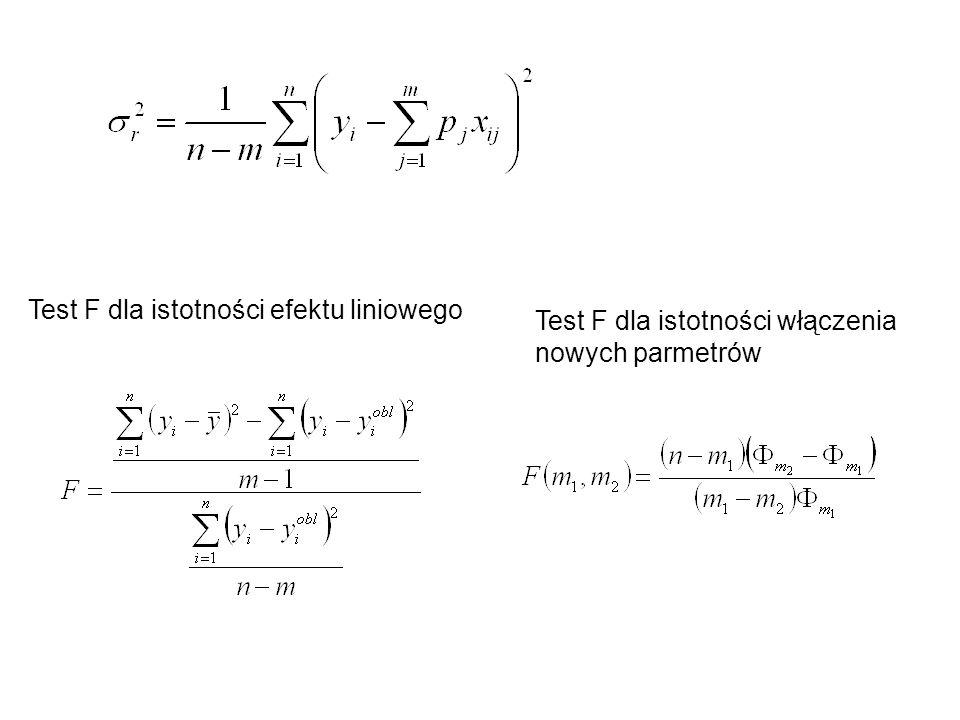 Test F dla istotności efektu liniowego