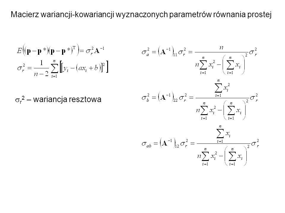 Macierz wariancji-kowariancji wyznaczonych parametrów równania prostej