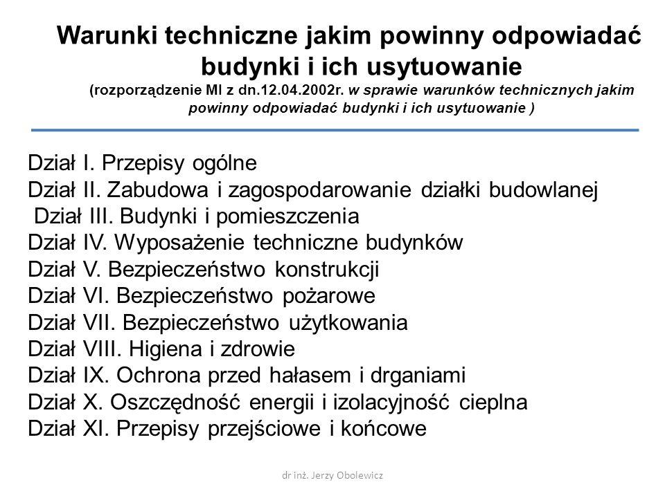 Warunki techniczne jakim powinny odpowiadać budynki i ich usytuowanie (rozporządzenie MI z dn.12.04.2002r. w sprawie warunków technicznych jakim powinny odpowiadać budynki i ich usytuowanie )