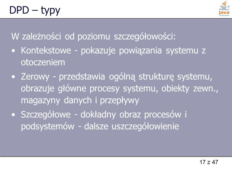 DPD – typy W zależności od poziomu szczegółowości: