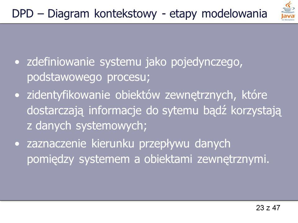 DPD – Diagram kontekstowy - etapy modelowania