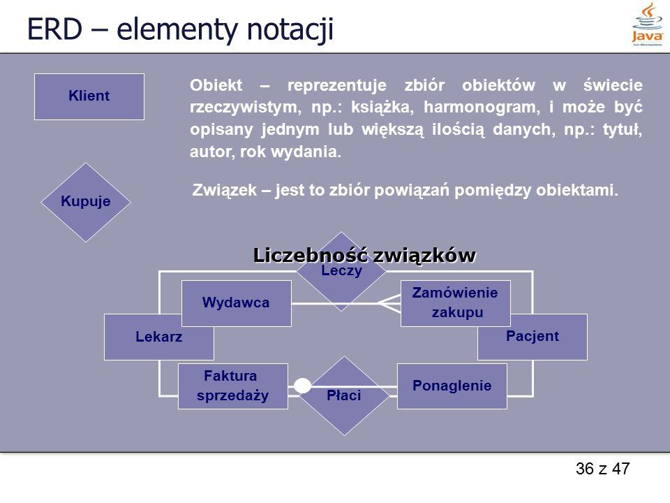 ERD – elementy notacji Liczebność związków