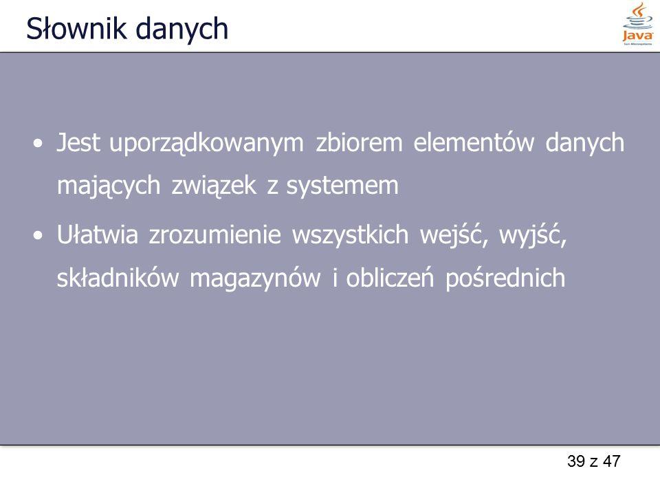 Słownik danych Jest uporządkowanym zbiorem elementów danych mających związek z systemem.