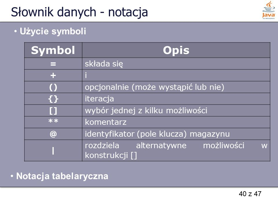Słownik danych - notacja