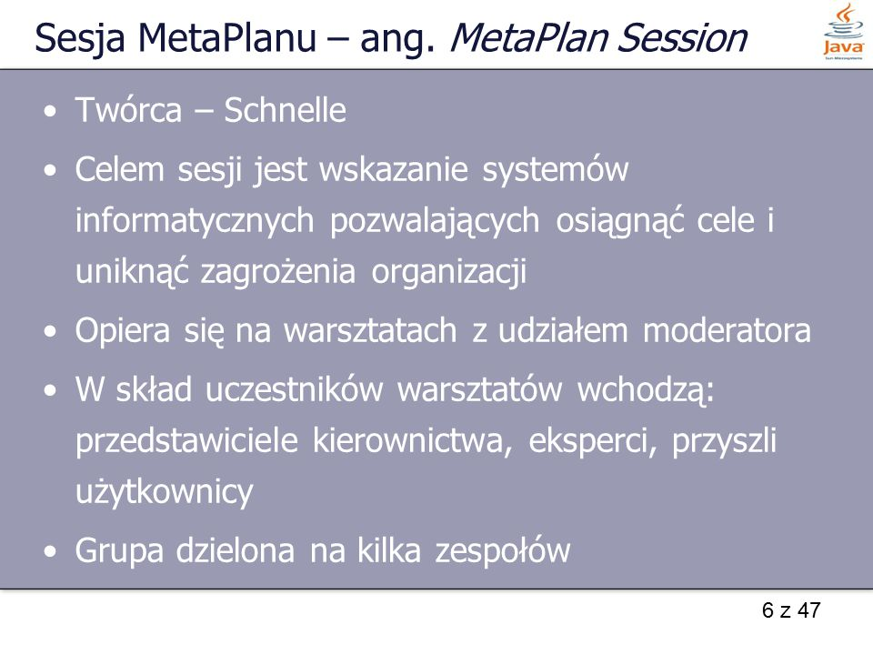 Sesja MetaPlanu – ang. MetaPlan Session