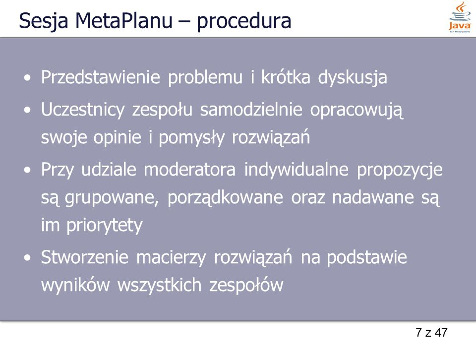 Sesja MetaPlanu – procedura