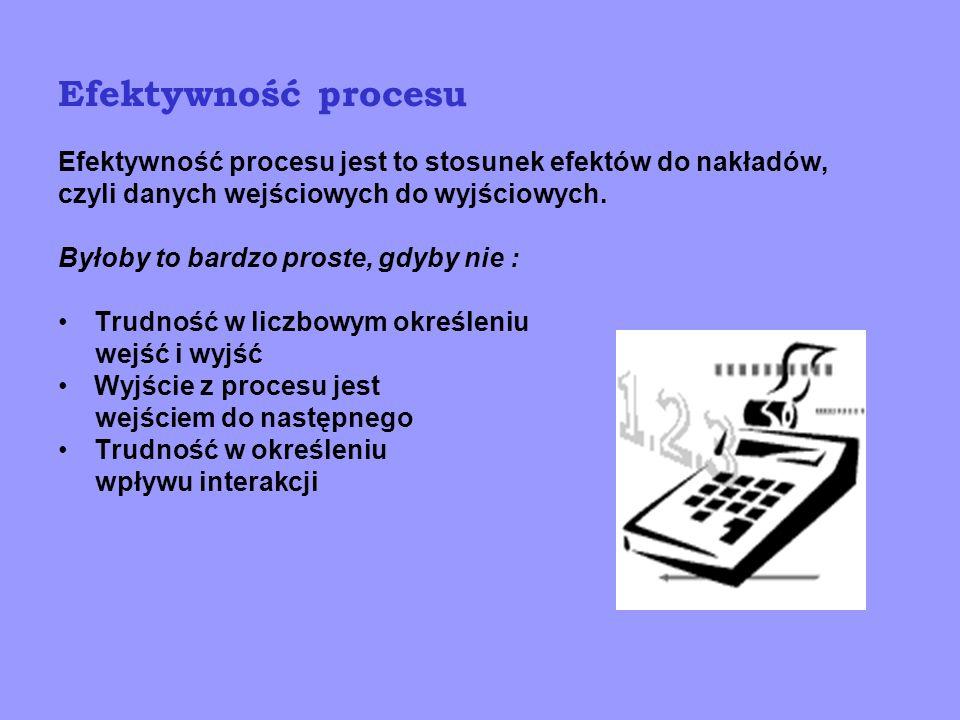 Efektywność procesu Efektywność procesu jest to stosunek efektów do nakładów, czyli danych wejściowych do wyjściowych.