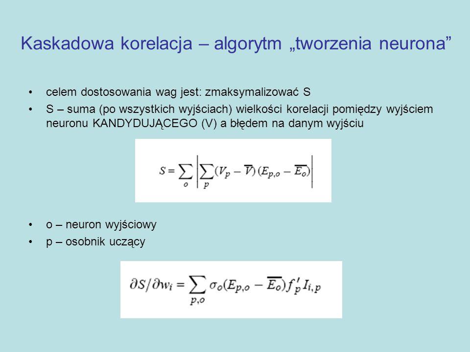 """Kaskadowa korelacja – algorytm """"tworzenia neurona"""