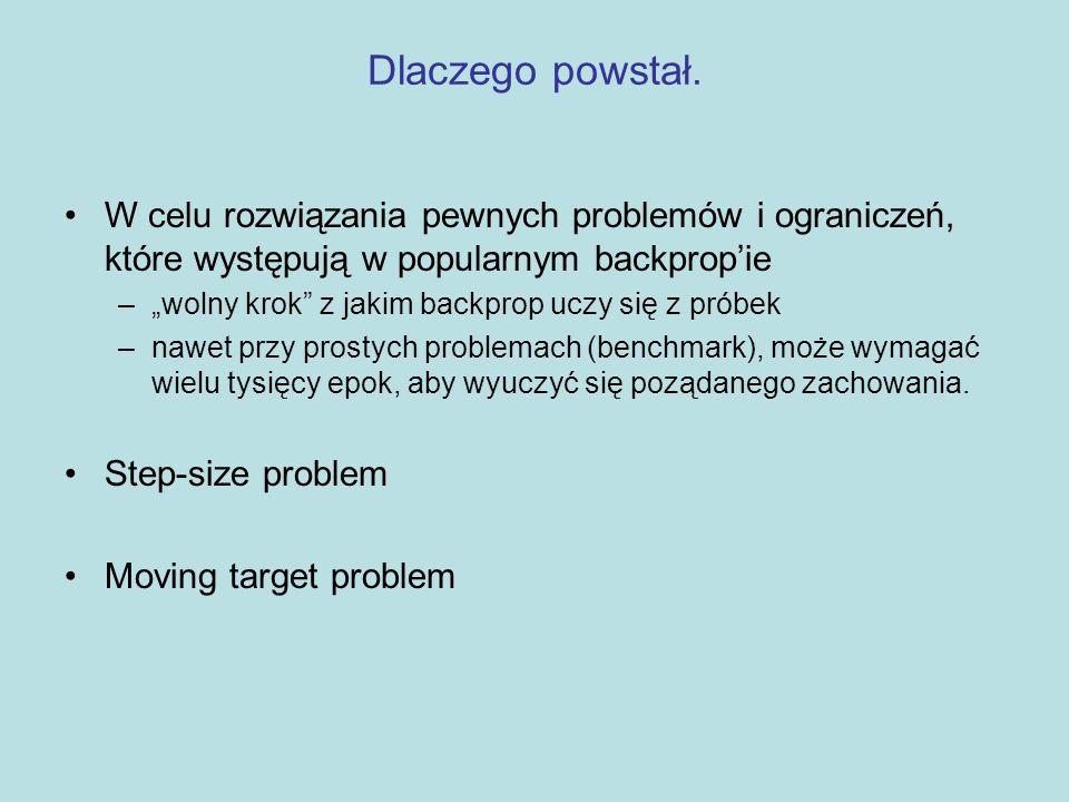 Dlaczego powstał. W celu rozwiązania pewnych problemów i ograniczeń, które występują w popularnym backprop'ie.