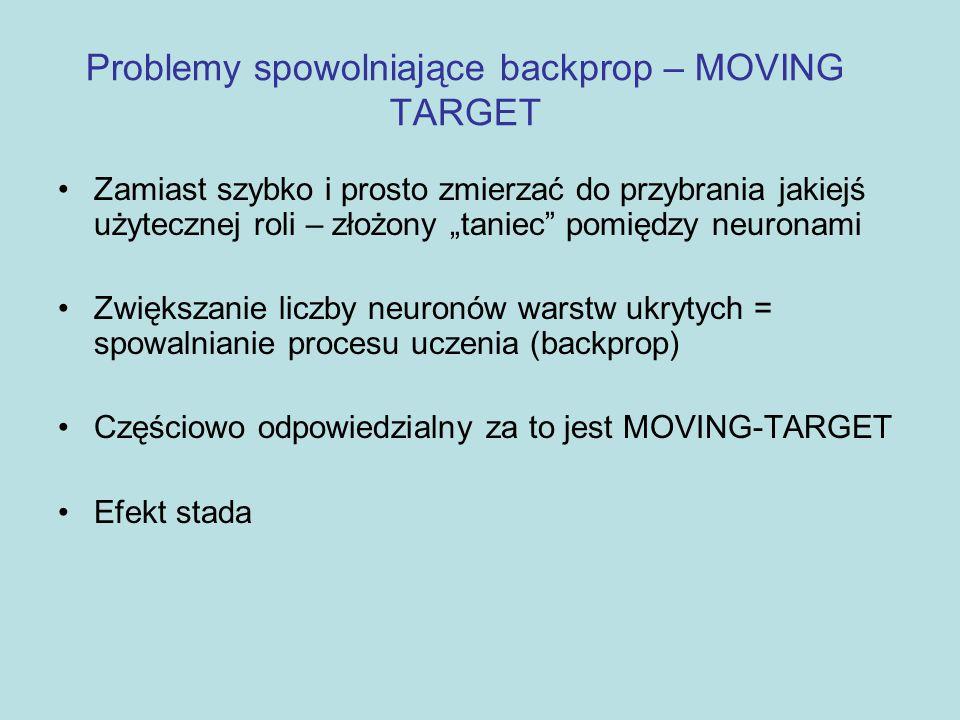 Problemy spowolniające backprop – MOVING TARGET