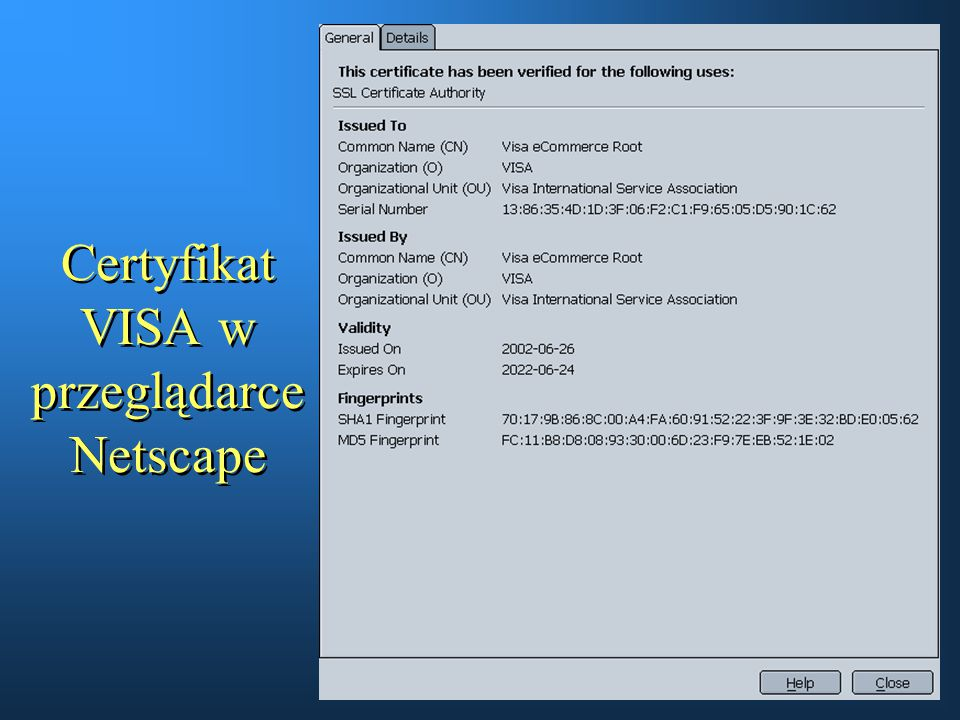 Certyfikat VISA w przeglądarce Netscape