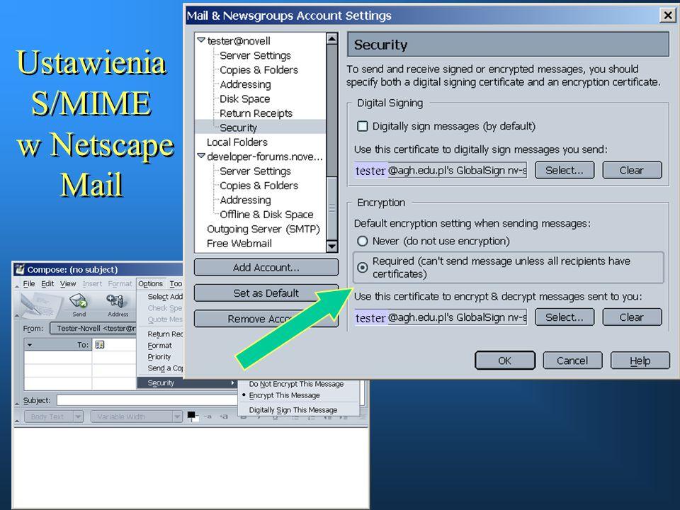 Ustawienia S/MIME w Netscape Mail