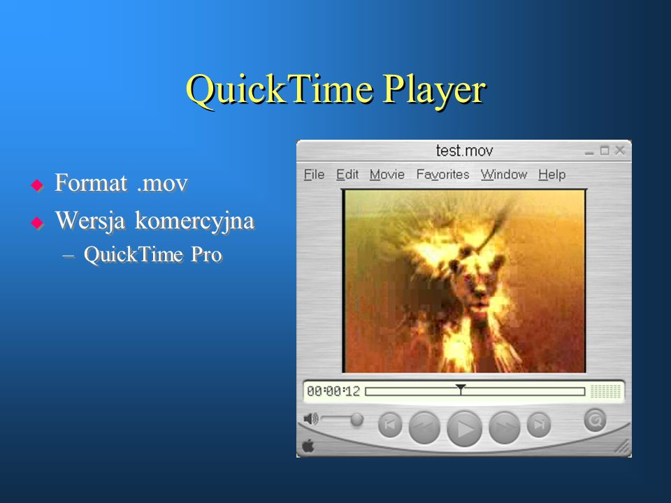 QuickTime Player Format .mov Wersja komercyjna QuickTime Pro