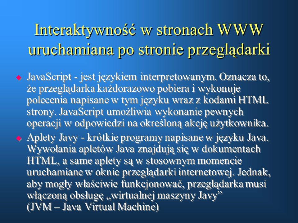 Interaktywność w stronach WWW uruchamiana po stronie przeglądarki