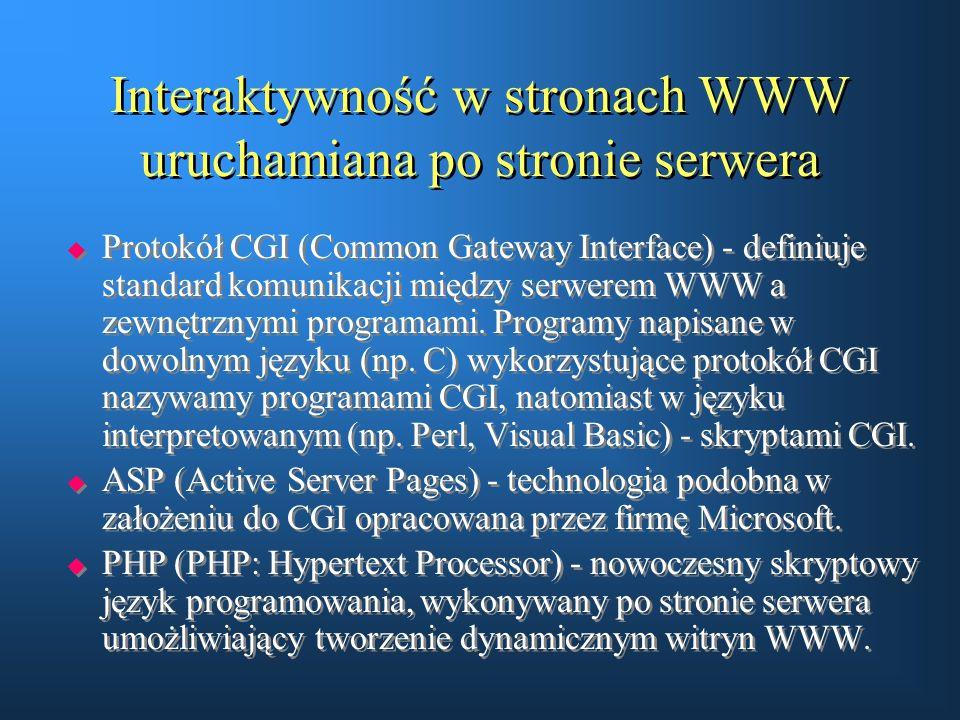 Interaktywność w stronach WWW uruchamiana po stronie serwera