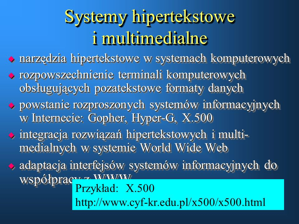 Systemy hipertekstowe i multimedialne