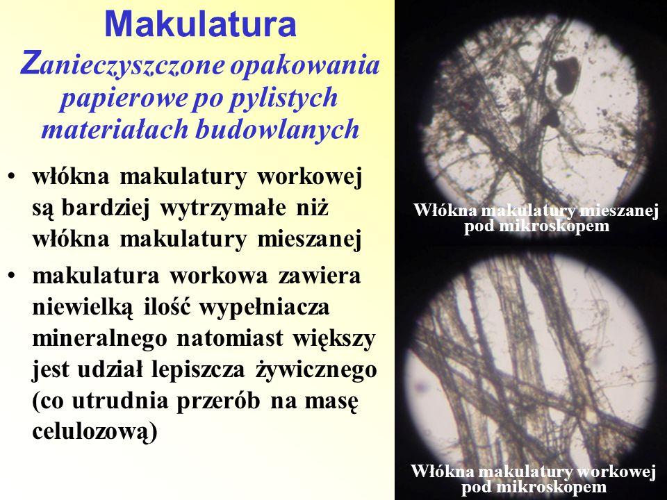 Makulatura Zanieczyszczone opakowania papierowe po pylistych materiałach budowlanych