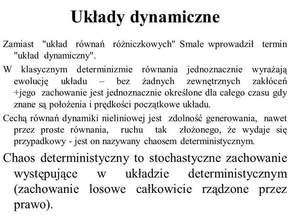 Układy dynamiczne Zamiast układ równań różniczkowych Smale wprowadził termin układ dynamiczny .