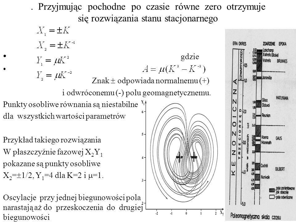 . Przyjmując pochodne po czasie równe zero otrzymuje się rozwiązania stanu stacjonarnego