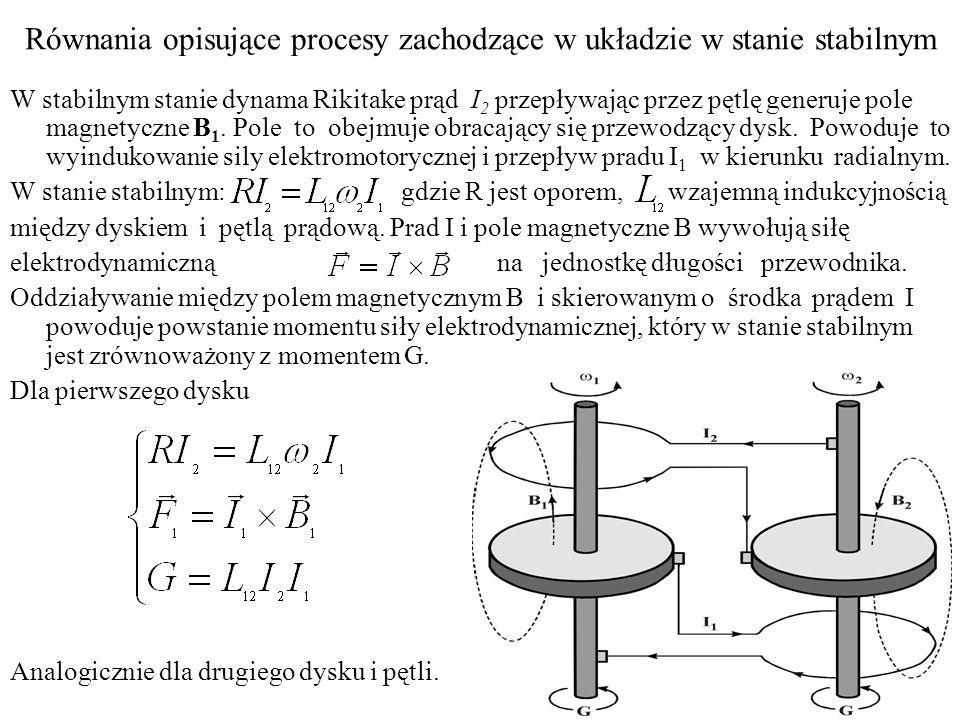 Równania opisujące procesy zachodzące w układzie w stanie stabilnym