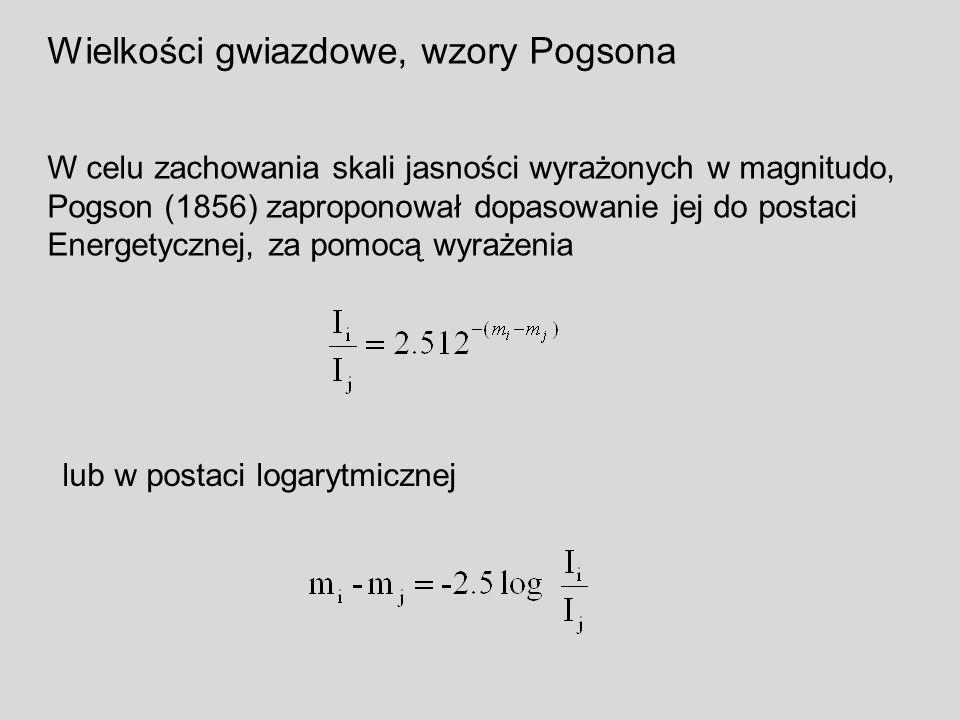 Wielkości gwiazdowe, wzory Pogsona