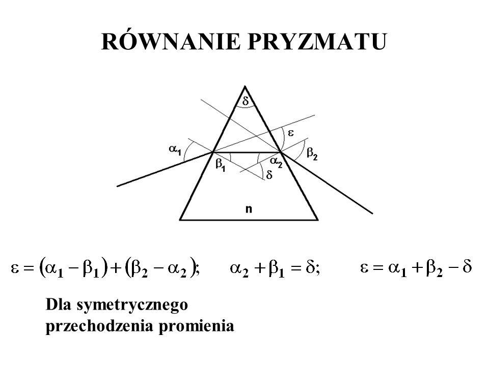 RÓWNANIE PRYZMATU Dla symetrycznego przechodzenia promienia