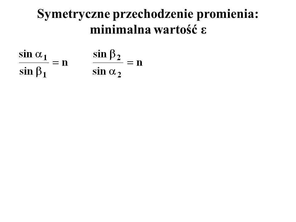 Symetryczne przechodzenie promienia: minimalna wartość ε