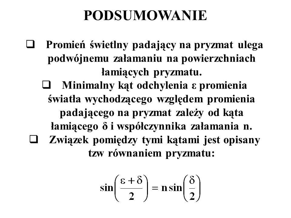 Związek pomiędzy tymi kątami jest opisany tzw równaniem pryzmatu: