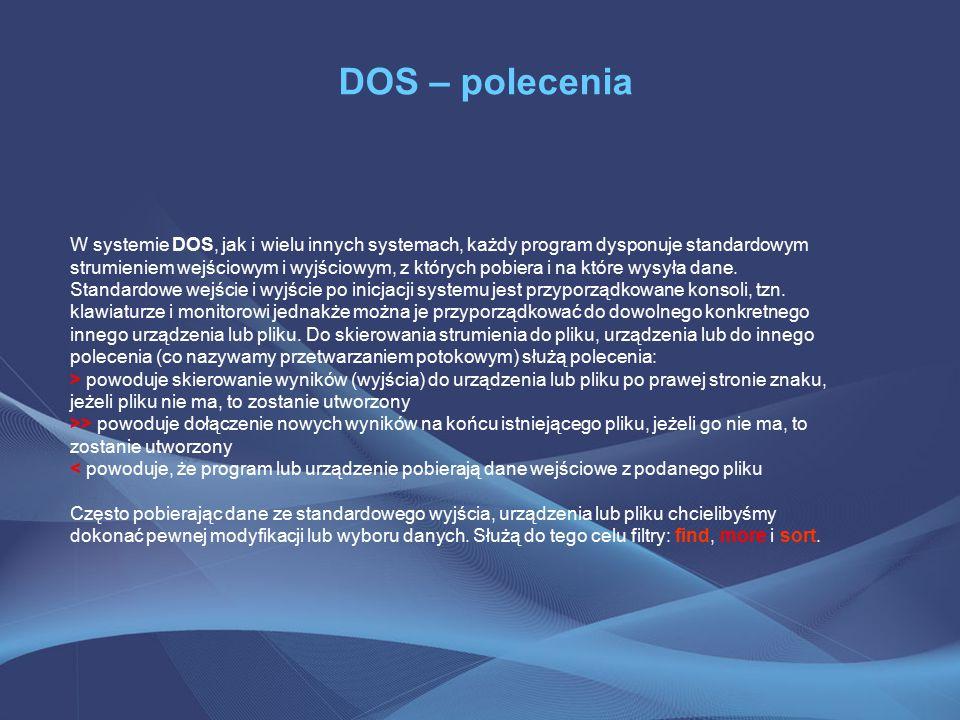 DOS – polecenia