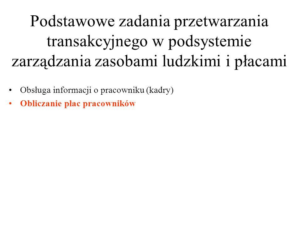 Podstawowe zadania przetwarzania transakcyjnego w podsystemie zarządzania zasobami ludzkimi i płacami
